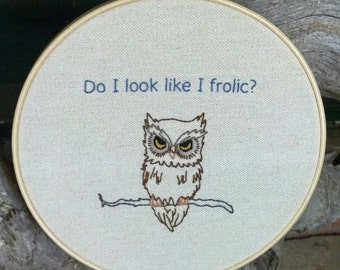 Snarky Owl Embroidery Art