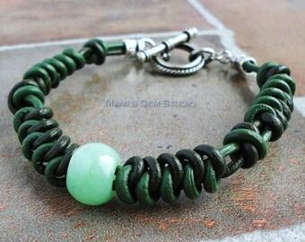 Black & Green Leather Woven Bracelet for Men, Unisex   Green Aventurine Stone Accent   Handmade Leather Bracelet