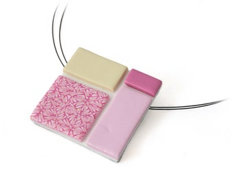 Geometric Necklace - Modern Pendant - Art Jewelry - Pink Statement Necklace - Square Pendant - Color Block Necklace - Gifts for Her