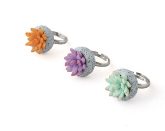 Succulent Ring - Unique Rings for Her - Modern Jewelry - Plant ring, Statement Ring, Cactus Jewelry, Gifts for Her, Gifts Under 10