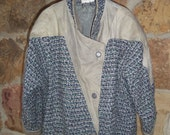 REDUCED 80s Triangular Jacket Woven Leather Large Blue Gray Turquoise Unisex