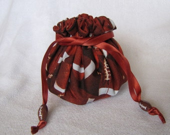 Jewelry Tote with Football Beads - Medium Size - Jewelry Pouch - FOOTBALL
