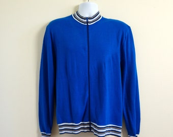 Vintage 1960s Mens Size Medium Zip Up Fleece Sweater VGC / chest 40 / 60s Leisure Wear, Mad Men Style, Retro Golf Sweater