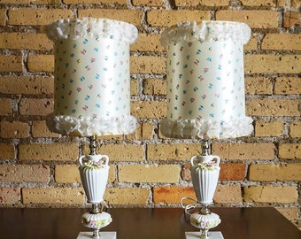 Vintage 1950s Lamp Pair / 50s 60s Japan Petite Floral Porcelain Lamps with Floral Ruffle Shades, Italian Marble Base / Cottage Chic