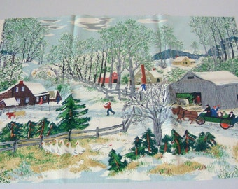"Mint Grandma Moses Vintage Barkcloth Piece ""Early Springtime On The Farm""  16 x 22 Inches"