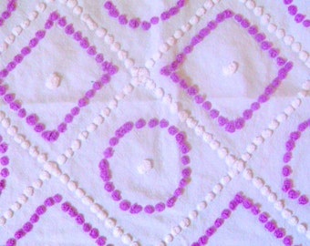 Gorgeous Lavender and White Candlewick Vintage Cotton Chenille Bedspread Fabric 14 x 24 Inches