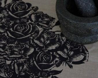 Rose Garden Black on Flax Linen Tea Towel