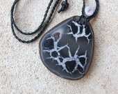 Large fossil pendant necklace - Septarian Nodule as jewelry - unique statement necklace adjustable length