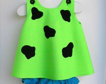 LIMITED EDITION  Baby and Toddler Neon Green Pebbles Flintstone Costume - 3 Piece Set LIMITED Sizes