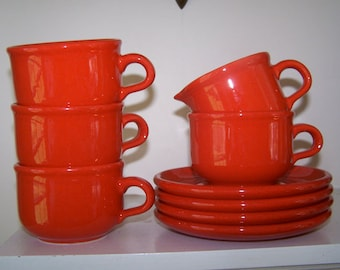 Waechtersbach, West German, Red Pottery, Set of 4, Cups and Saucers, 1 Creamer, Mid Century