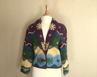 Vintage WINTER SNOWFLAKE Novelty Jacket / Tapestry Coat / Womens Large
