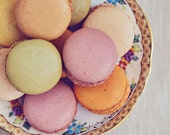 Still Life Photograph, Macarons Photo, Food Photography, French Cookies, Kitchen Decor, Fine Art Print, Vintage Style, Shabby, Plate, Gold