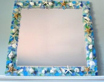 Seashell Mirror, Beach Decor Custom Shell Mirror, Nautical Decor Sea Glass Mirror, Beach Glass Mirror, Shell Wall Mirror, Seaglass #CMSQSG