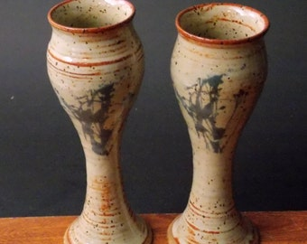 Pair Of Small Wine Goblets ~ Wild Weed Design ~