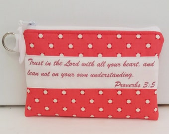 Bible Verse Zippered Bag, Pouch, pouch, Makeup pouch, Gift for her, Gift for woman