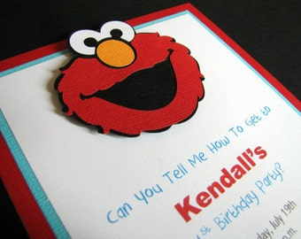 Elmo Party Invitations, Elmo Birthday Party Invitations, Elmo Birthday Invites, Elmo 1st Birthday Party, Sesame Street Invite, Set of 12