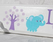 """Girl's 18"""" Custom peg rack with 3 pegs Personalized Aqua Lavender Owls and Elephant Lily"""