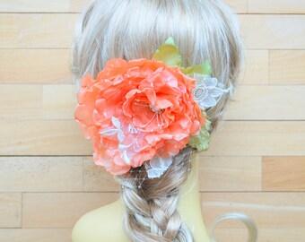 Coral Orange Bridal Hair Flower, Fall Weddings Accessories, Orange Bridal Hair Clip, Bridesmaids Brooch Fascinator, Flower for Sash, Prom