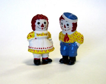 "Doll 3"" handcrafted porcelain  penny dolls  Raggedy Ann and Andy in Yellow"