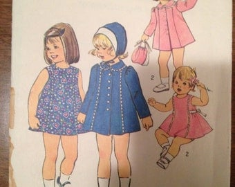 Simplicity 7323  Size 1  Toddlers Dress, Coat and Hat.    1970's Sewing Pattern