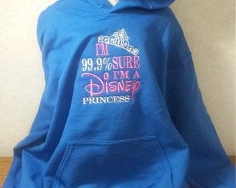 99% Sure I'm a Disney Princess Girls Youth Hoodie Hoody Sweatshirt Pullover Top