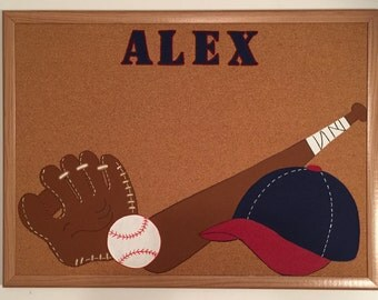 Handpainted; Personalized; baseball bulletin board; Corkboard