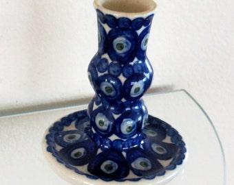 Vintage Boleslawiec Polish Pottery Candleholder Blue White Green Dot