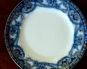 Vintage Flow Blue Dinner Plate Royal Staffordshire Renown Deep Blue and White 1907