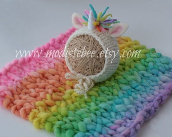 Unicorn Bonnet and Blanket Set (Bright version) Newborn Photography Prop