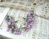 lilac lavender earrings assemblage spring shabby chic