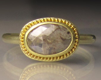 Gold Granulated Rose Cut Diamond Ring, 14k and 18k Rose Cut Diamond Engagement Ring, Rough Cut Diamond Ring