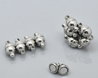 free UK postage 5 sets 8mm Silver Round Strong Magnetic Clasps