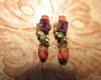 Vintage STUNNING Drop EARRINGS Amethyst and Coral Stones