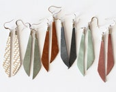 Leather Dangle Earring - Dangle Earring - Leather Earring - Slender Earring - Minimal Earring - Light Weight Earring - Long Earring