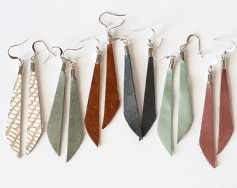 Leather Dangle Earring - Dangle Earring - Leather Earring - Slender Earring - Minimal Earring - Light Weight Earring - Long Earring