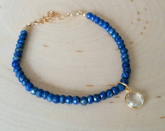 Blue lapis beaded gemstone bracelet w / bezel set Crystal quartz charm. Stack. Minimalist. Gift. Free ship. Adjustable. Boho chic.
