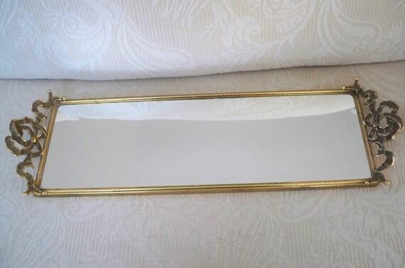 Vintage Home Decor Bureau Mirror Tray Brass Mirror Dresser