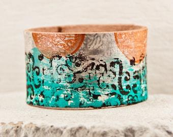 Unique Jewelry Art Bracelet Cuff - Bohemian Leather Wristband - Wrist Tattoo Cover - Rainwheel