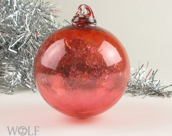 Blown Glass Christmas Ornament  Gold Ruby Red Pink Grapefruit Holiday Tree Ornament