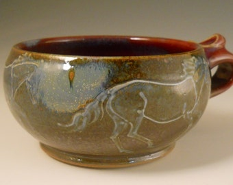 Ghost Horses Handled Soup Bowl