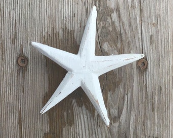 Rustic Starfish Drawer Knobs - Cabinet knobs - Furniture Knobs Distressed White (WK09)