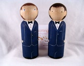 Same Sex Personalized Wood Peg Doll Wedding Cake Topper