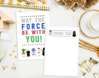 Star Wars Thank You Cards. Star Wars Birthday Cards. Star Wars 4x6 Thank You. Star Wars Party. R2D2 Thank You. May the force be with you.