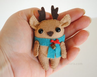 Reindeer Felt Ornament Pattern * Printable Sewing Pattern Cute Reindeer Christmas Tree Ornament