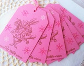 Christmas in July SALE Alice in Wonderland Winter Wishes Christmas Tags Rabbit Snowflakes Pink Set of 6