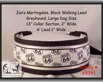 Jan's Martingales, Black Walking Lead, Dog Collar and Lead Combination, Greyhound, Large Dog Size, Blk243