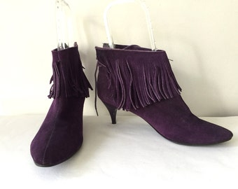 Vintage 50s 60s 1950s 1960s Purple Leather Bootie Heels Leather Fringe Size 8 1/2 38.5 Ankle Boots Shoes Western