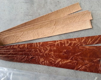 Leather Pieces for  Ribbon Style Chokers or Bracelets- Cognac - Real Leather - Lot No. 160702-O