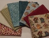NEW  Garden Days Spring Fabric Bundle Quilt Craft Fat Quarter Bundle- Reds,Tans & Blues