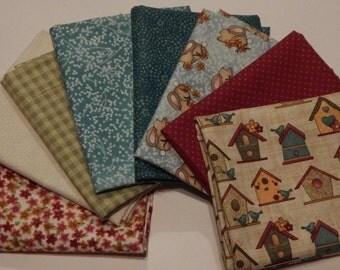 NEW  Garden Days Spring Fabric Bundle Quilt Craft Fat Quarter Bundle- Reds, Tans & Blues